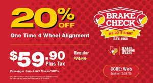 Brake Check Coupon 4 Wheel Alignment